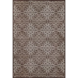 "Grand Bazaar Power Loomed Wool & Viscose Settat Rug in Dark Chocolate / Gray 7'-10"" x 11' - 7'-10"" x 11'"