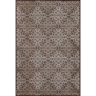 "Grand Bazaar Power Loomed Wool & Viscose Settat Rug in Dark Chocolate / Gray 7'-10"" x 11'"