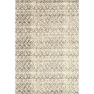 "Grand Bazaar Power Loomed Wool & Viscose Nahele Rug in Cream/Gray 7'-10"" x 11'"