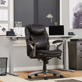 Serta Smooth Black Eco Friendly Bonded Leather AIR Health and Wellness Mid Back Office Chair