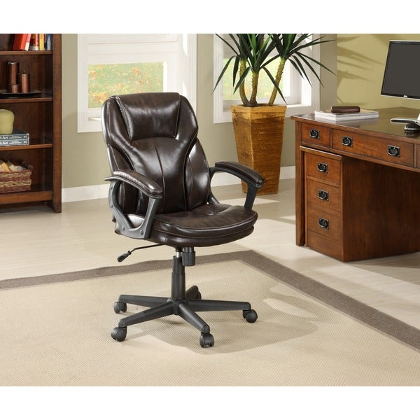 Serta Roasted Chestnut Brown Puresoft Faux Leather Managers Office Chair