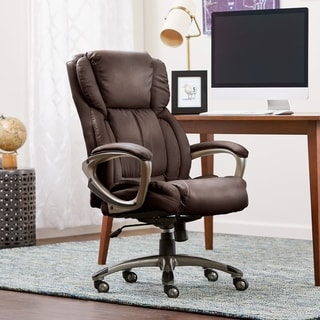 Serta Biscuit Brown Supple Bonded Leather Executive Office Chair