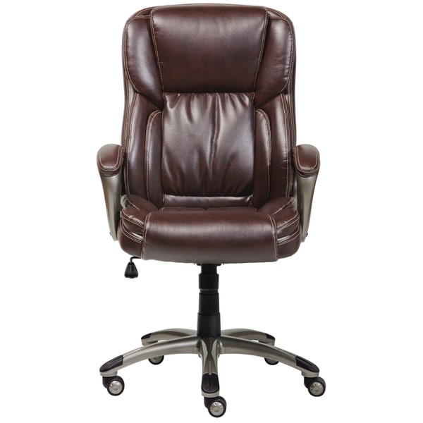 Amazing Serta Biscuit Brown Bonded Leather Executive Office Chair