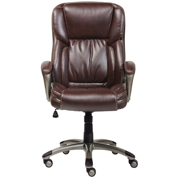 High Quality Serta Biscuit Brown Supple Bonded Leather Executive Office Chair