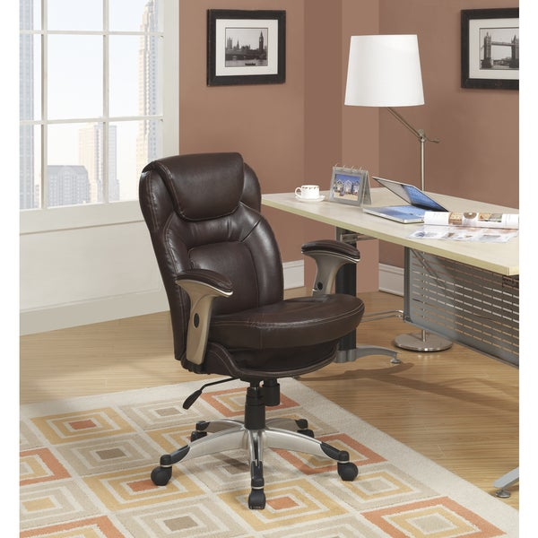 Ordinaire Serta Back In Motion Health And Wellness Frye Chocolate Bonded Leather  Office Chair
