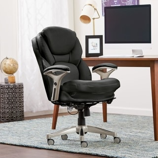 Serta Smooth Black Eco Friendly Bonded Leather Back in Motion Health and Wellness Mid Back Office Chair