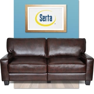 Serta RTA Monaco Collection 72-inch Brown Leather Sofa