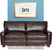 Serta RTA Monaco Collection 72-inch Brown Leather Sofa