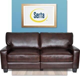 Serta Rta Monaco Collection 72 Inch Brown Leather Sofa