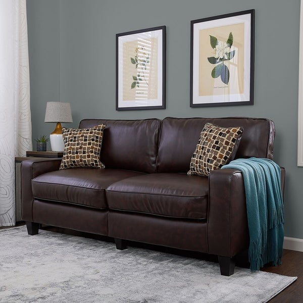 Shop Serta Rta Monaco Collection 72 Inch Brown Leather Sofa Free