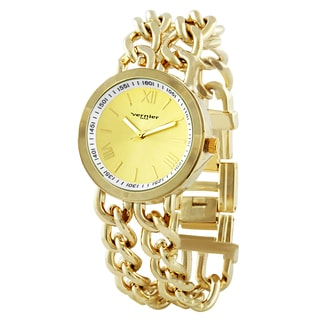Vernier Paris Women's Gold-tone Double Box Chain Link Watch