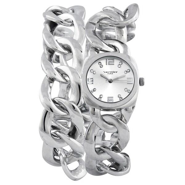 Vernier Paris Women's Crystal Silver-tone Chain Link Double Wrap Watch