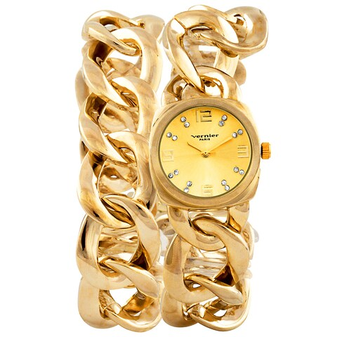 Vernier Paris Women's Goldtone Crystal Dial Chain Link Double Wrap Watch