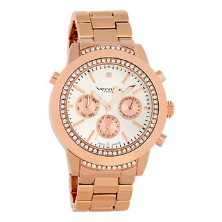 Vernier Paris Women's Genuine Diamond Swiss Quartz Rose Goldtone Chronograph Bracelet Watch