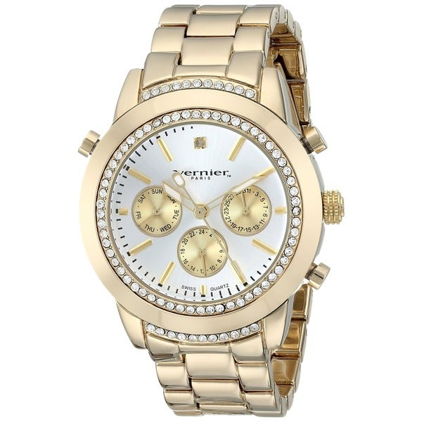 Vernier Paris Women's Genuine Diamond Swiss Quartz Goldplated Bracelet Watch
