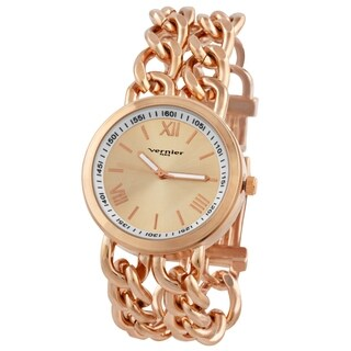 Vernier Paris Women's Rose Goldplated Double Box Chain Link Watch