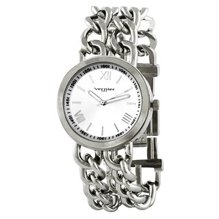 Vernier Paris Women's Silver-tone Double Box Chain Link Watch