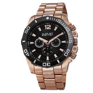August Steiner Men's Swiss Quartz Multifunction Rose-Tone Bracelet Watch