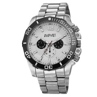 August Steiner Men's Swiss Quartz Multifunction Silver-Tone Bracelet Watch