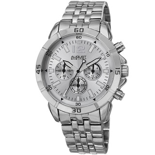 August Steiner Men's Quartz Chronograph Silver-Tone Bracelet Watch