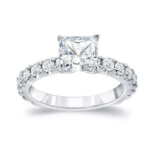 Auriya 14k Gold 2 1/2ct TDW Certified French Pave Princess-Cut Diamond Engagement Ring|https://ak1.ostkcdn.com/images/products/9066868/P16260190.jpg?impolicy=medium