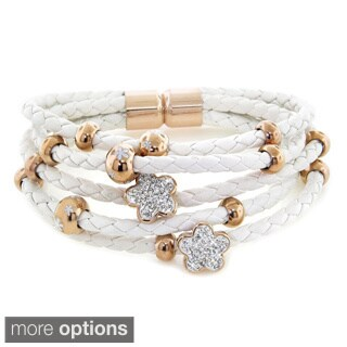 Eternally Haute Steeling Beauty Vegan Leather and Charm Multi-strand Bracelets with Magnetic Clasp