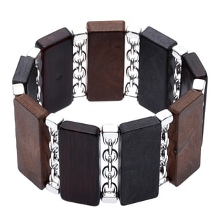 Alexa Starr Metal-wood Rectangular Link Stretch Bracelet