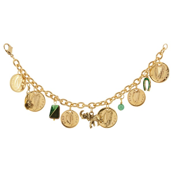 Gold Overlay Irish Coin Charm Bracelet. Opens flyout.