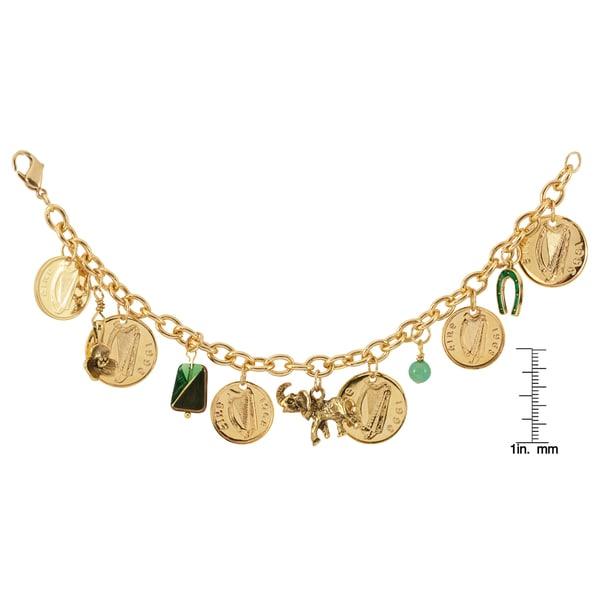 Gold Overlay Irish Coin Charm Bracelet