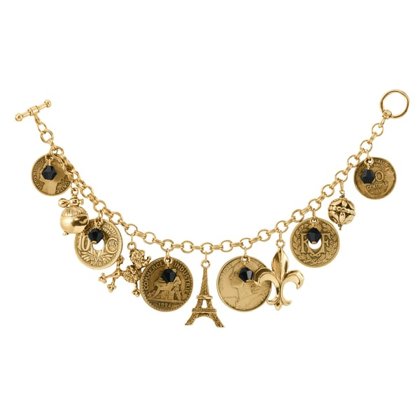 French Coin Charm Bracelet