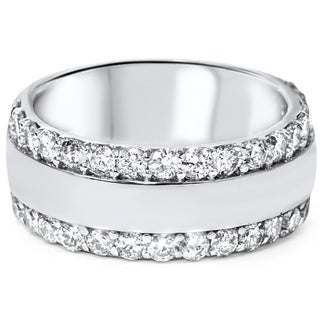 14k White Gold 2 3/4ct TDW Diamond Double Row Band (G-H, I1-I2)