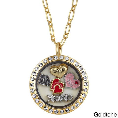 Charming Locket Round Rhinestone Love Charm Locket
