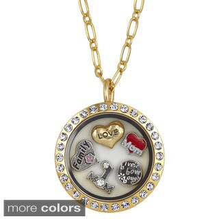 Charming Locket Round Rhinestone Mom Charm Locket