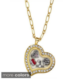 Charming Locket Rhinestone Heart Mom Locket