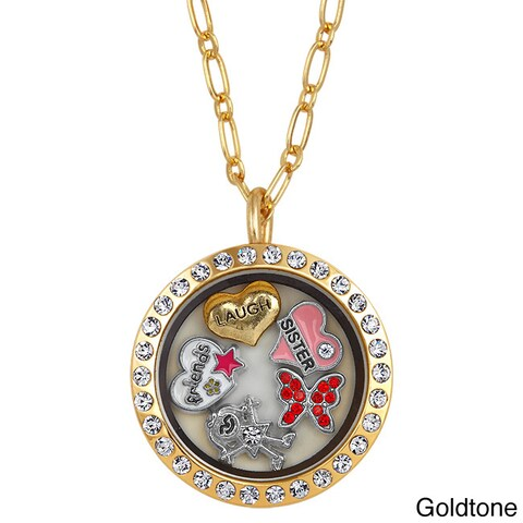 Charming Locket Round Rhinestone Sister Charm Locket