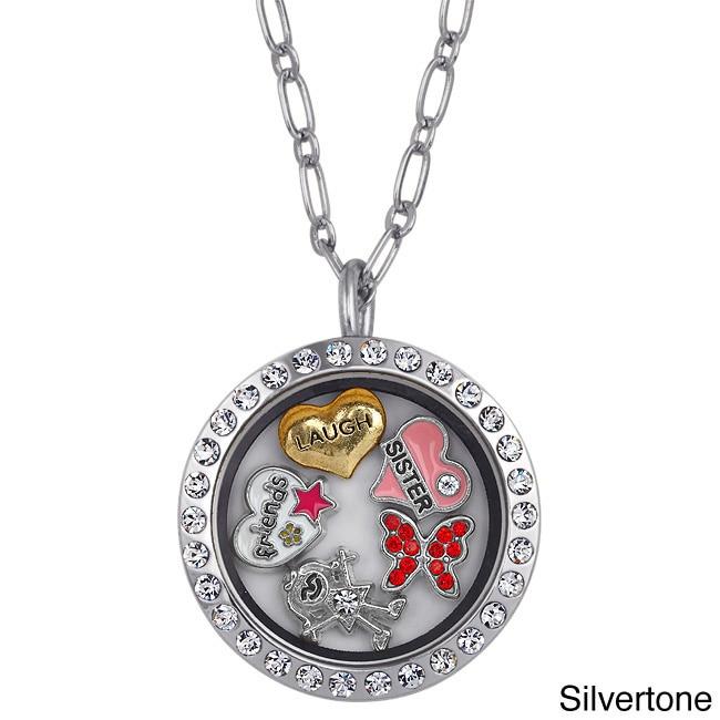 Goldtone Charming Locket Round Rhinestone Sister Charm Lo...
