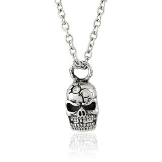 Gravity Stainless Steel and Cubic Zirconia Skull Pendant