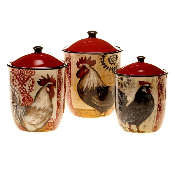 hand painted fancy rooster ceramic canisters set of 3