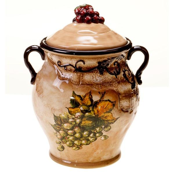 Hand-painted Tuscan View 10.25-inch Ceramic Biscotti Jar