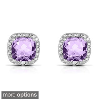 Dolce Giavonna Silverplated Cushion-cut Gemstone Earrings