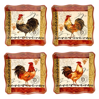 Hand-painted Tuscan Rooster 10.25-inch Assorted Ceramic Dinner Plates (Set of 4)