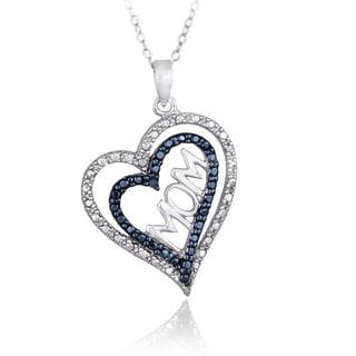 DB Designs Sterling Silver Blue Diamond Accent Double Heart Mom Necklace
