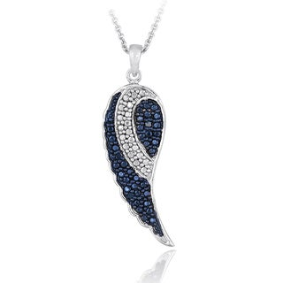DB Designs Sivertone Blue Diamond Accent Wing Necklace