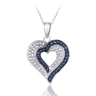 DB Designs Sterling Silver Blue Diamond Accent Double Heart Necklace