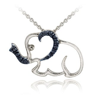 DB Designs Sterling Silver Blue Diamond Accent Elephant Necklace