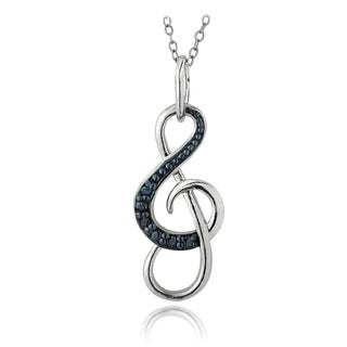 DB Designs Sterling Silver Blue Diamond Accent Musical Note Necklace