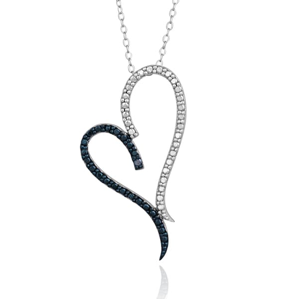DB Designs Sterling Silver Blue Diamond Accent Heart Necklace. Opens flyout.