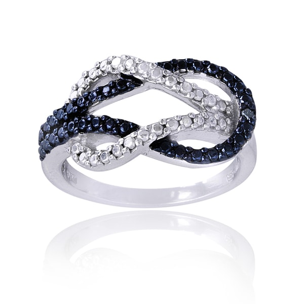 DB Designs Sterling Silver Blue Diamond Accent Love Knot Ring