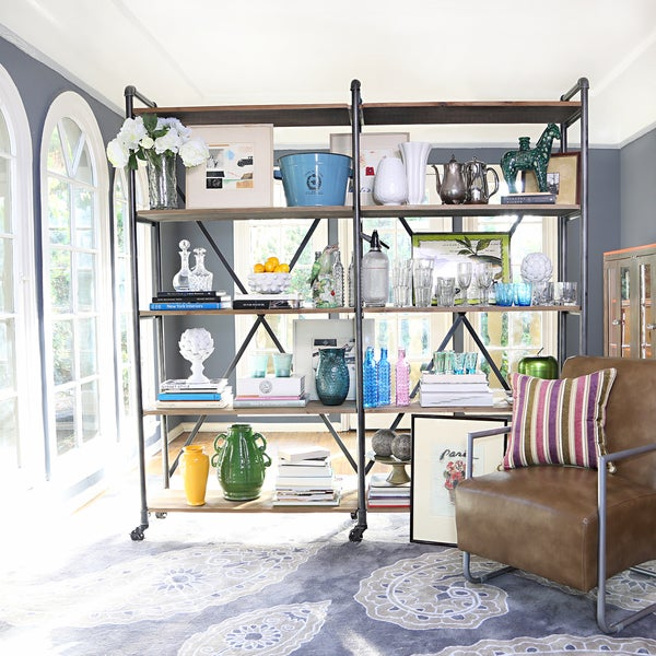 Handy Living Ludlow Wood and Metal Shelving Wall Unit
