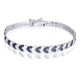 Link to DB Designs Silvertone Blue Diamond Accent Leaf Bracelet Similar Items in Bracelets